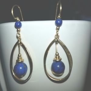 Vintage blue and gold tone earrings